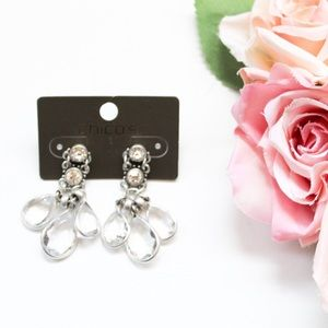 Chico's Clear Dangling Cluster Earrings